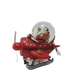 Hógömb led piros helikopter