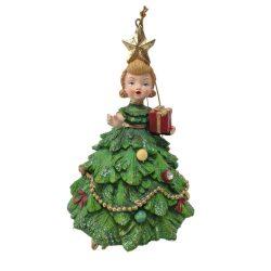 Karácsonyfa ruhás kislány 13cm