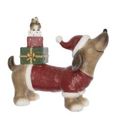 Kutya ajándékdobozzal LED 49x19x41cm
